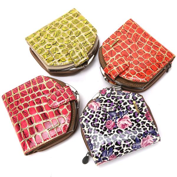 Envío gratis nueva llegada moda mujer billetera tarjeta paquete monedero billetera billetera plegable cuatro estilos