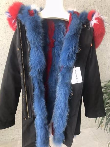 New arrival Red blue fox fur trim Mukla furs brand blue white red stripe fox fur lining long black parkas