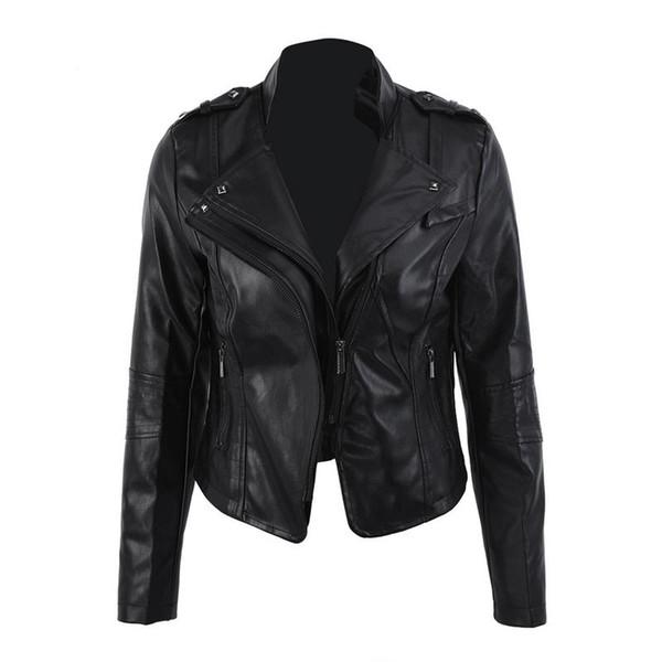 Women Leather Short Jacket Slim Classic Black Jackets Vintage Fashion Hip Hop Cool Jacket For Ladies Girl Female Korean Casual
