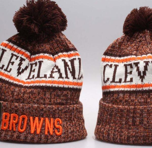 2019 Yeni Kış Browns Beanie Örme Şapka Spor Takımları Beyzbol Futbol Basketbol Beanies KadınlarErkek Pom Moda Kış, Snapback Kapaklar