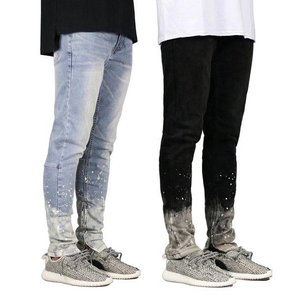 Pantaloni impermeabili di Jean di pantaloni della matita di misura della chiusura lampo di autunno della molla dei jeans degli uomini del progettista dell'inchiostro dell'inchiostro Trasporto libero