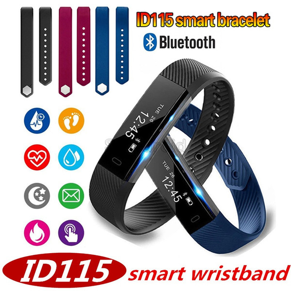 ID115 Smart Bracelet Fitness Tracker Step Counter Activity Monitor Band Alarm Vibration Wristband for iphone Android phone + Retail box 50pc