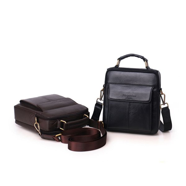 Authentic new high-end design real leather men's shoulder Messenger bag portable famous casual business retro fast delivery