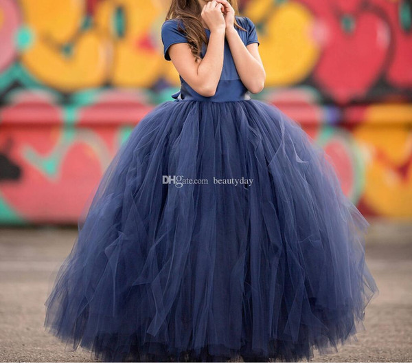 Navy Blue Flower Girls' Dresses Little Baby Infant Toddler Baptism Clothes With Tutu Tulle Bow Ball Gowns Birthday Party Cheap Custom Made