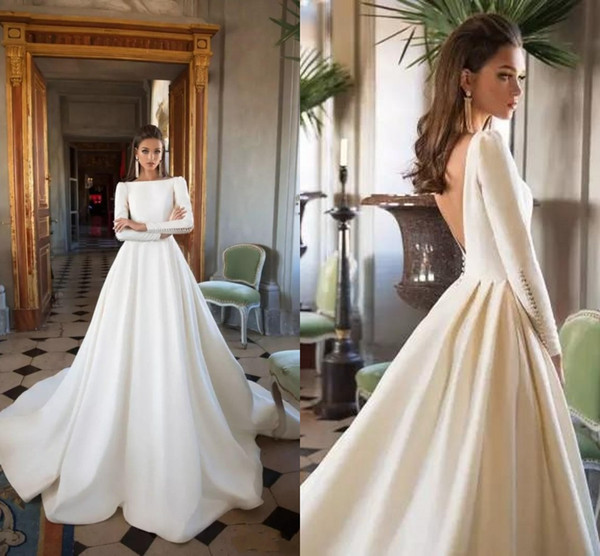 Simple Cheap wedding dresses A line Satin Court Train Long Sleeves V Backless Designer Wedding Dress Bridal Gowns Cheap Custom Made
