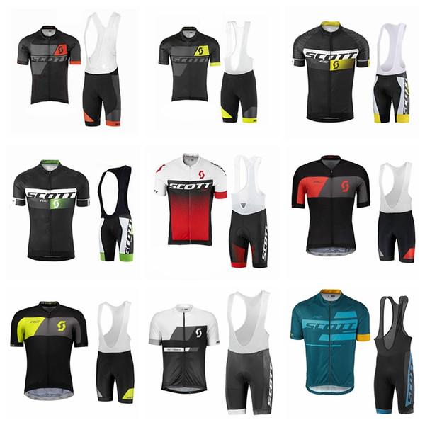 SCOTT team Radtrikot Set 2019 Herren Fahrradbekleidung Kurzarmhemd Trägerhose Anzug Hochwertige Sommer Fahrrad Sport Uniform 61103