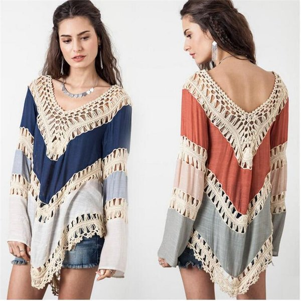 crochet pullover womens poncho hollow out sweater women pull femme v-neck womens jumpers bohemia autumn capes and ponchoes - from $21.51