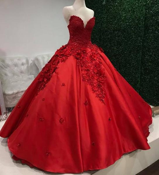 Amazing Red Beaded Ball Gown Wedding Dresses Sweetheart Neck Bridal Gowns Court Train 3D Appliqued Satin Plus Size Vestido De Novia