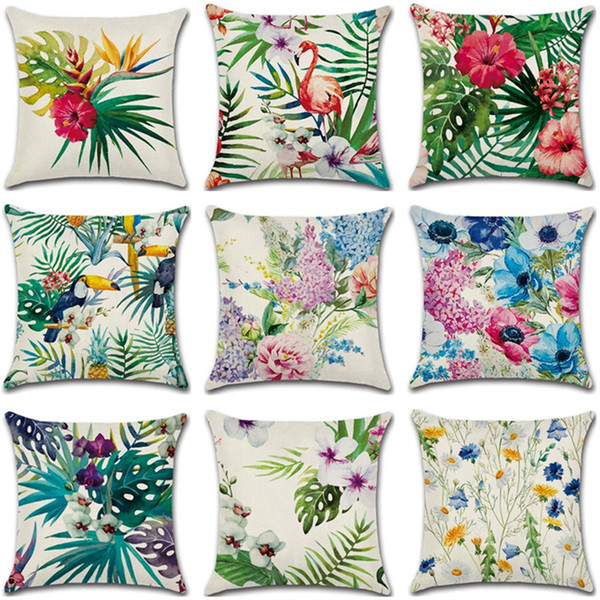 45*45cm Tropical Plant Pattern Linen Cushion Covers Bedroom Seat Christmas Gifts Home Decor Kitchen Accessories Party Decoration