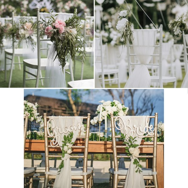 Beautiful White Pink Wedding Chair Covers With Flower Romantic Chair Cover Decortive Long Tulle High Chair Skirt Slipcovers Wedding Supplies