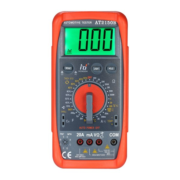 KKMOON HD AT2150B Digital Multimeter Tester Automotive Meter Tester Tachometer Cap. Temp. Sensor w/ LCD Backlight