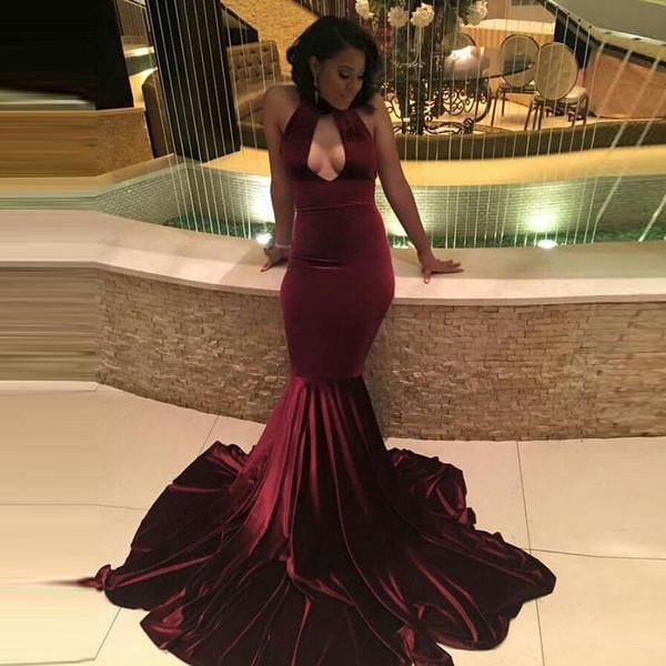 African Burgundy Velvet Prom Dresses ballkleider O-Neck Keyhole Mermaid Long Formal Simple Arabic Evening Gown vestidos 2019