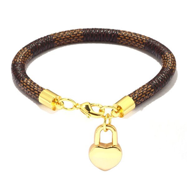 top popular New Brand Leather Charm Bracelets for Women Plaid PU Real Gold Plated Handmade Heart Bag Pendant Lobster Clasp Bangle Fashion Jewelry Gift 2021