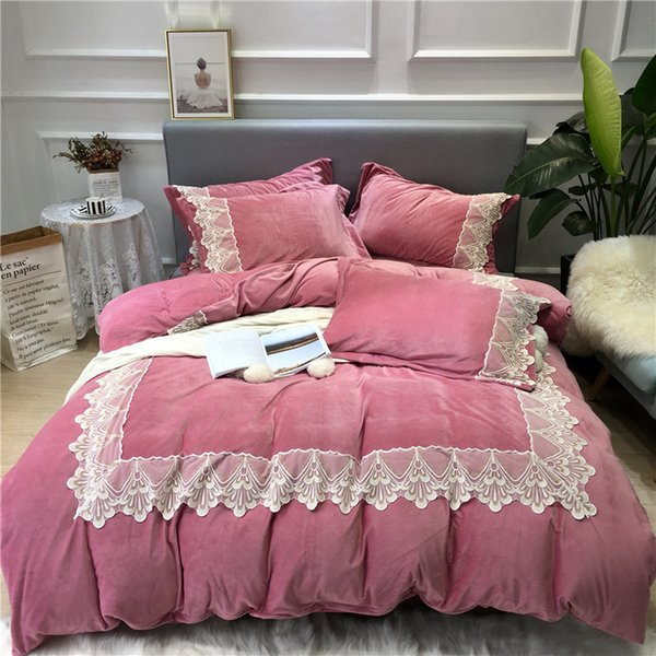 Pink Blue gray Luxury Winter Warm Thick Flannel Bedding set Lace Fleece fabric Duvet cover Bed Sheet Bed Linen Pillowcases 4pcs