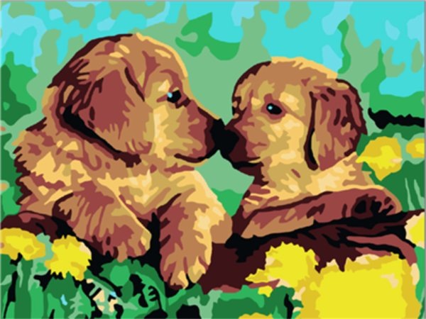 16x20 inches Puppy Licking In The Tulip Garden DIY Paint By Numbers Kits On Canvas Art Acrylic Oil Painting