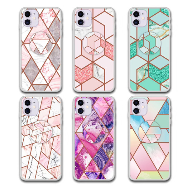 Fa hion electroplating marble phone ca e for iphone 11 pro x max xr x 6 7 8 plu marble pattern ca e with bracket