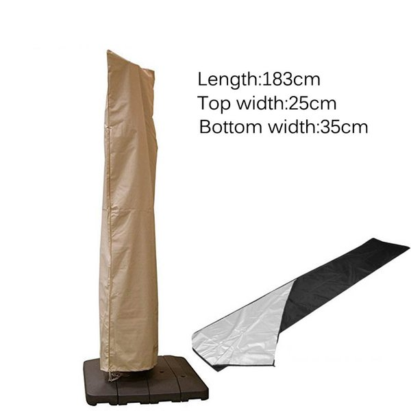 3 Size Outdoor Straight Umbrella Cover Waterproof Oxford Cloth Garden Dust-proof Patio Parasol Rain Cover Accessories Khaki