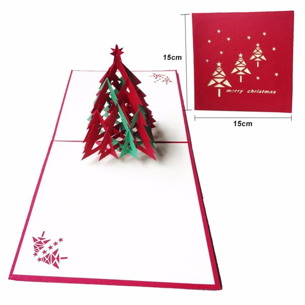 Compre Feliz Navidad 3d árbol De Navidad Tarjetas De Invitación De Papel Hecho A Mano Tarjeta De Recuerdos Personalizados Postales De Cumpleaños Axir