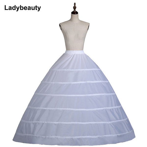 2018 High Quality White 6 Hoops Petticoats Crinoline Underskirt For Ball Gown Wedding Dress Bridal Gown In