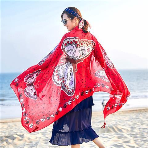 spring and autumn female twill cotton national wind scarf sunscreen beach towel scarves shawl manufacturers