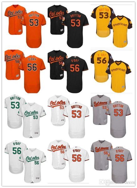 personnalisé Hommes Femmes Jeunes Majestic BAL Orioles Jersey # 53 Zach Britton 56 Darren O'Day Accueil Orange Jersey