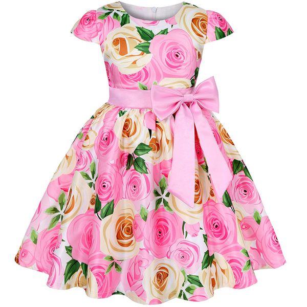 Verano lindo vestidos para niños para las niñas visten elegante de la boda princesa de las muchachas del vestido de los niños vestidos de noche de la fiesta de cumpleaños
