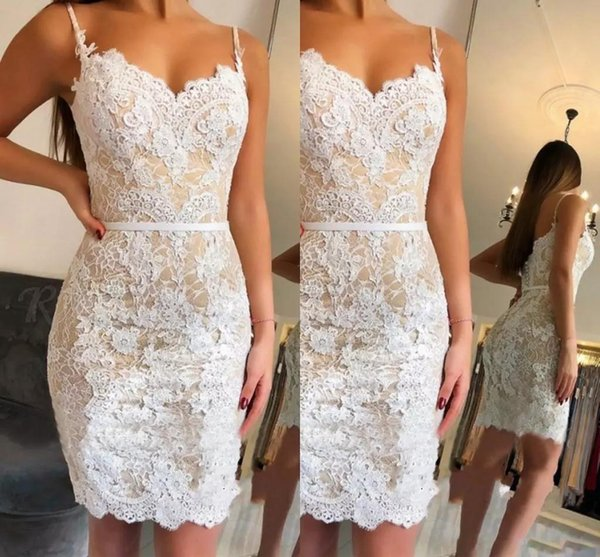 2019 Champagne Sheath Lace Homecoming Dresses Mermaid Lace arty Gowns Tight fit Pageant Prom Gowns Custom Made Special Occasion Dresses