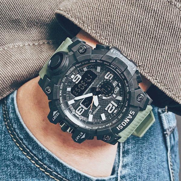 Erkek Şok Spor Saatler Su Geçirmez G Tarzı Siyah Renk LED Dijital Saatı Erkek Lüks Spor Askeri Dışarı Kapı İzle Toptan hediye