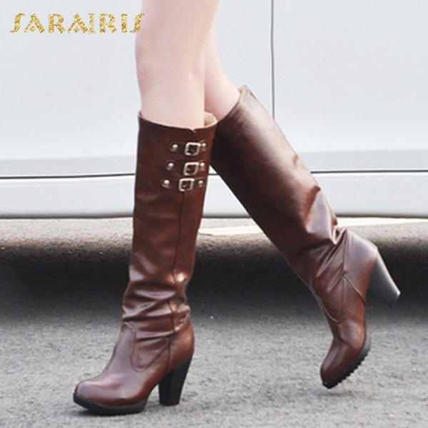 sarairis big size 34-43 buckles platform chunky heels black knee high boots shoes woman autumn boots women