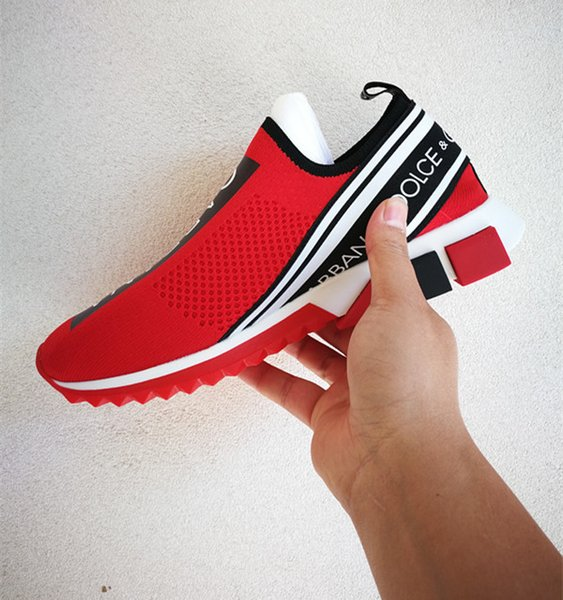 Branded Men Stretch Jersey Sorrento Slip-on Sneaker Designer Lady Two-tone Rubber Bottom Micro Sole Casual Shoes Size EU35-45