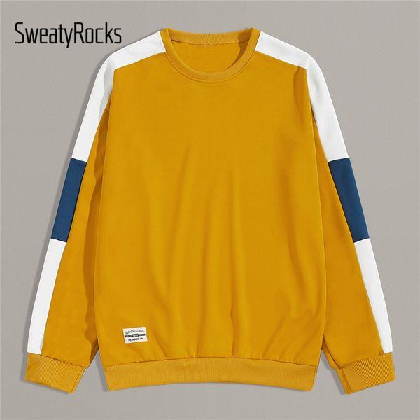 SweatyRocks Hommes Contraste Jaune Lettre Panneau patché Sweat-shirt Streetwear Jumpers Active Wear 2019 Automne de Sweatshirts Casual