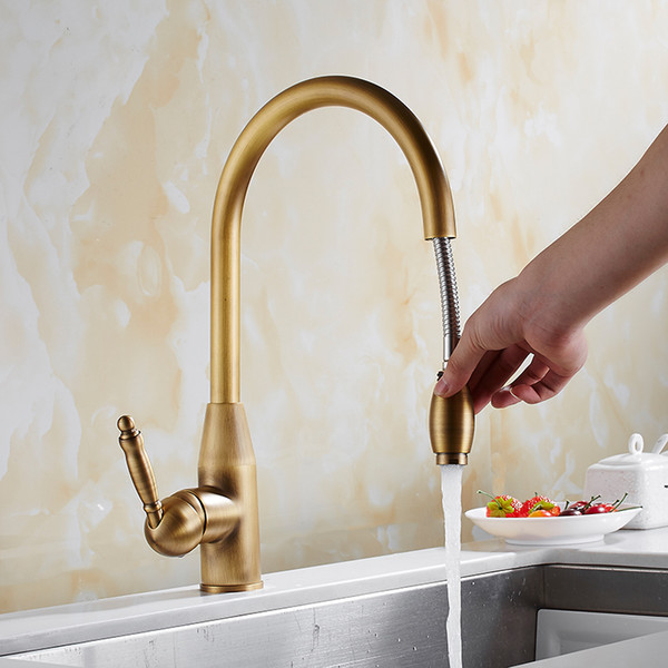 2019 New Arrival Kitchen Faucet Antique Bronze Brass Kitchen Sink Pull Out  Faucet,Sink Tap Mixer With Pull Out Shower Head From Partter, $89.5 | ...