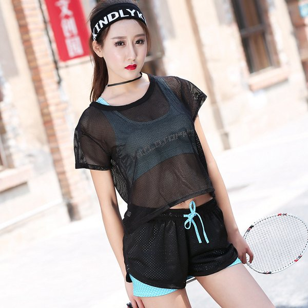 2018 Sexy Women Fitness Sport 3 Piece Set Quick Dry Breathable Cozy Running Yoga Gym Badminton Tennis Workout Training Suits C19041201
