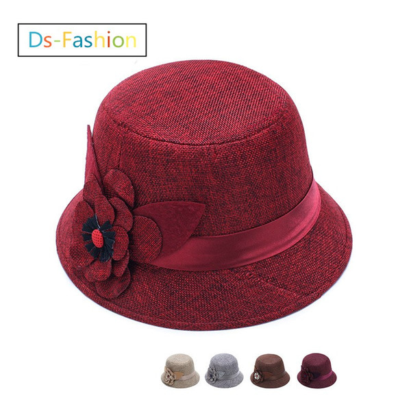 Fashion Elegant Fedoras Hats With Flower For Women Linen Hat Ladies Dress Black Red Church Hat Honey Formal Wedding Bucket Sinamay Hats Brim