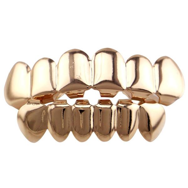 6 électrodes de placage cuivre brillant dents hip hop top bas pour accessoires de corps de noël halloween