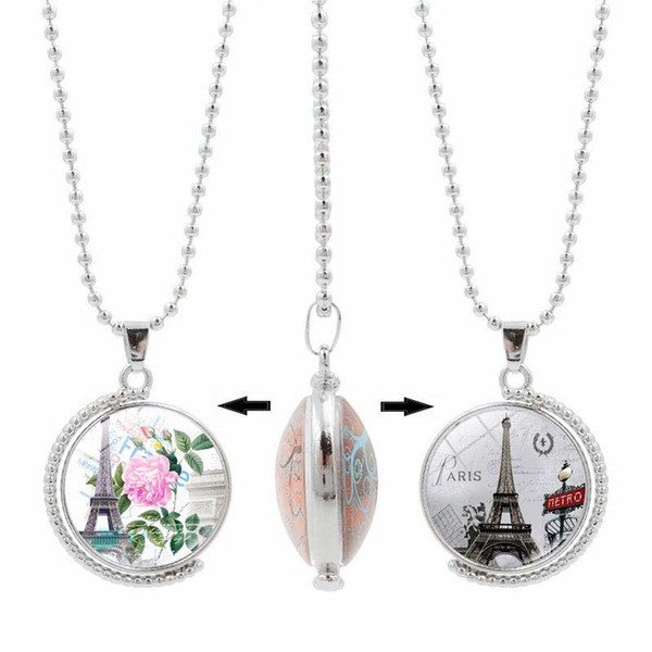 Double side rotatable Eiffel Tower necklace Time Gem pendant 360 degrees rotary necklace Romantic and retro sweater chain