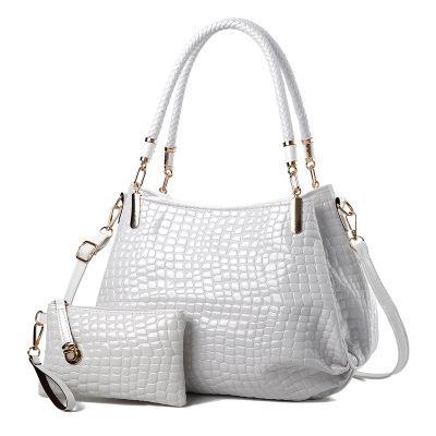 New crocodile pattern patent leather female bag mother bag shoulder slung mobile mother bag bright leather handbag