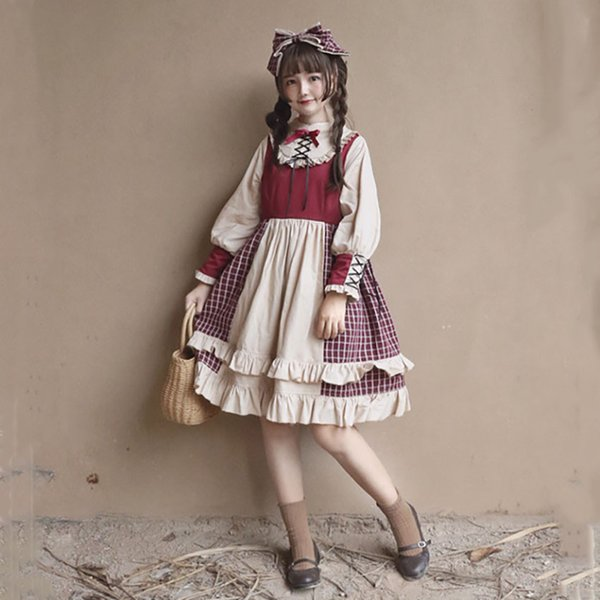 Plaid Lolita Dress for Women Sweet Vintage Dress with Ruffles Retro Party High Quality Bow-knot Japanese Kawaii Girls Gothic