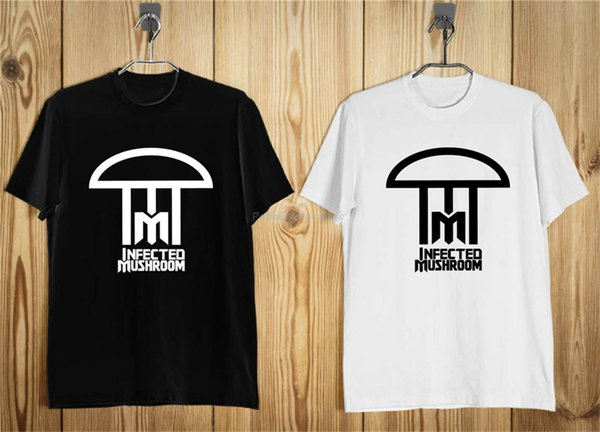 Infected Mushroom hombres del logotipo de la camiseta Negro Blanco S-5Xl Marca Ropa Camiseta