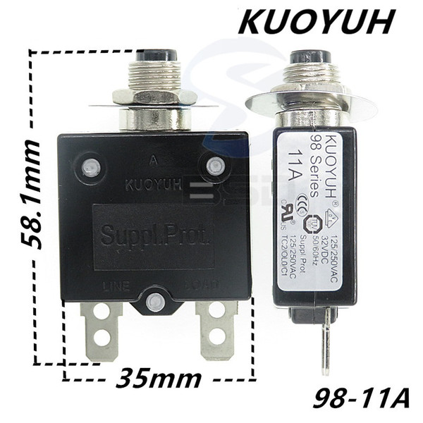 top popular Taiwan KUOYUH 98 Series-11A Overcurrent Protector Overload Switch 2021