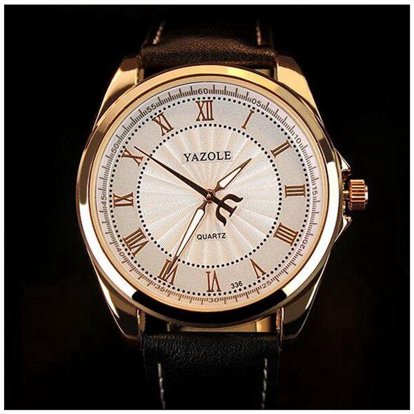 Analógico de cuarzo Escala de número romano Reloj de pulsera casual de negocios Reloj de negocios Reloj para hombre Cinturón negro