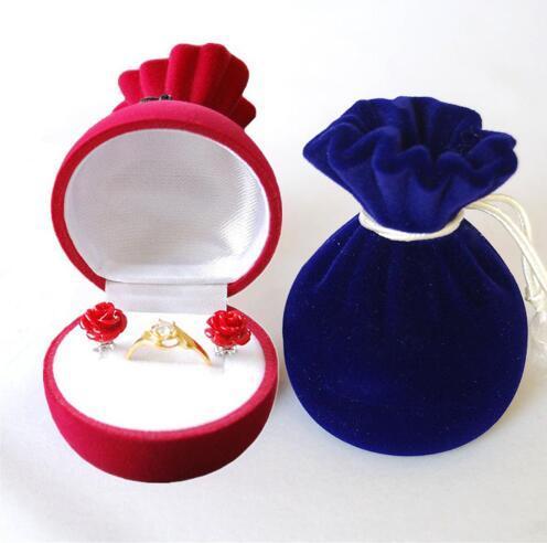 50pcs/lot Creative Velvet Pomegranate Flower Ring Earrings Box Jewelry Box Storage Case Gift Box Jewelry Packaging Display Rack