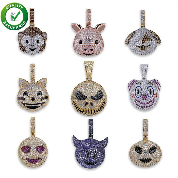 Iced Out Pendant Hip Hop Jewelry Men Designer Necklace Cute Animal Pendants Cuban Link Chain Micro Paved CZ Diamond Bling Luxury Charms Gift