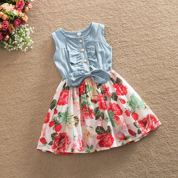good quality summer baby girls dress cotton sleeveless printing dresses newborn girls casual tourism outfits fashion party costume