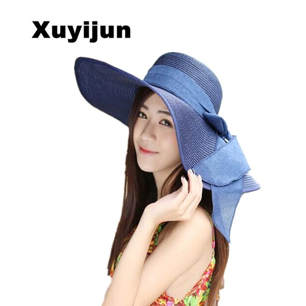 Xuyijun Mode Chapeaux pour Femmes Fedora Trilby Gangster Cap Summer Beach Soleil Paille Panama Chapeau avec Ribbow Band Sunhat