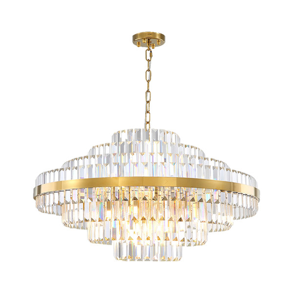 Light luxury led crystal chandelier lighting for living dining room bedroom gold yrandole kryszta owe in the hall chandeliers