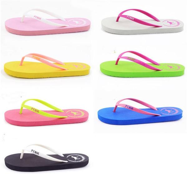 7 Colors Girls Pink Flip Flops Love Pink Sandals Pink Letter Beach Slippers Shoes Summer Soft Beach Slipper 2pcs/pair 50pairs B11