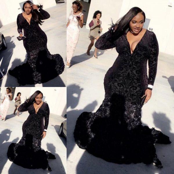 Черный плюс размер платья выпускного вечера сексуальный глубокий V-образным вырезом с длинными рукавами кружевные бархатные вечерние платья южноафриканский поезд развертки вечернее платье