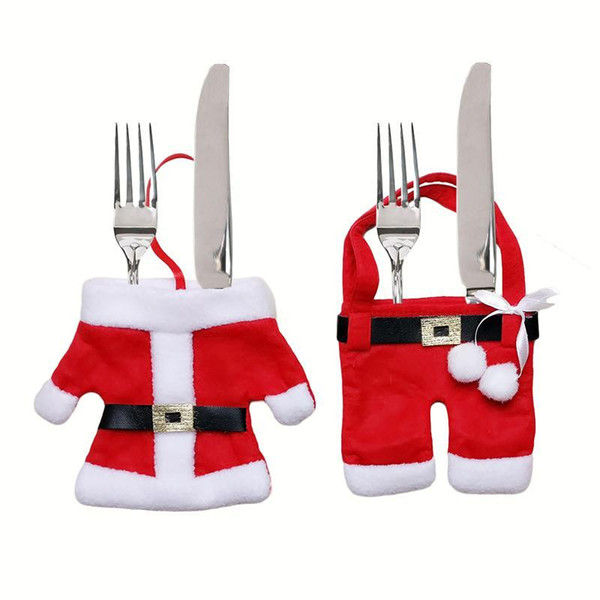 Hot Wholesale Handmade Santa Suit Clothes Christmas Cutlery Silverware Holder Pockets Knives Forks Bag Xmas Party Table Decorations