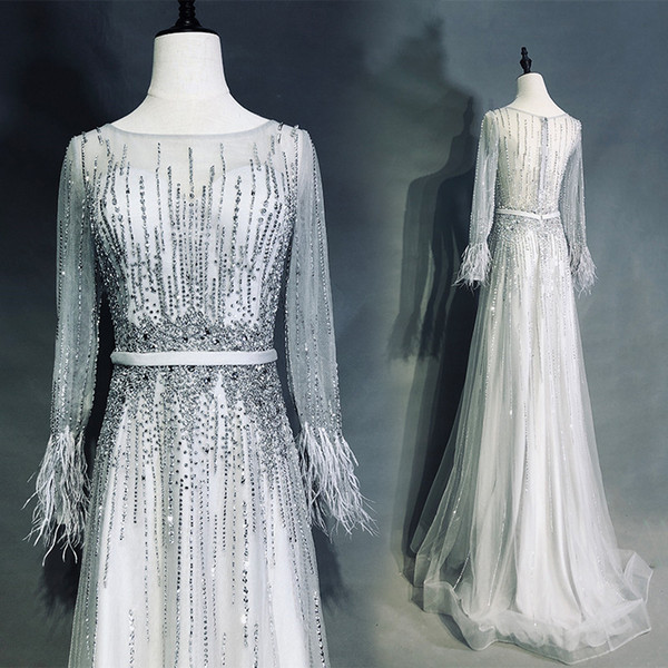 2019 Sparkling Real Photos A-line Evening Dresses Sheer Scoop Illusion Long Sleeve Zipper Back Floor Length Train Romantic